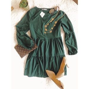 V-neck Long Sleeve Tunic Dress